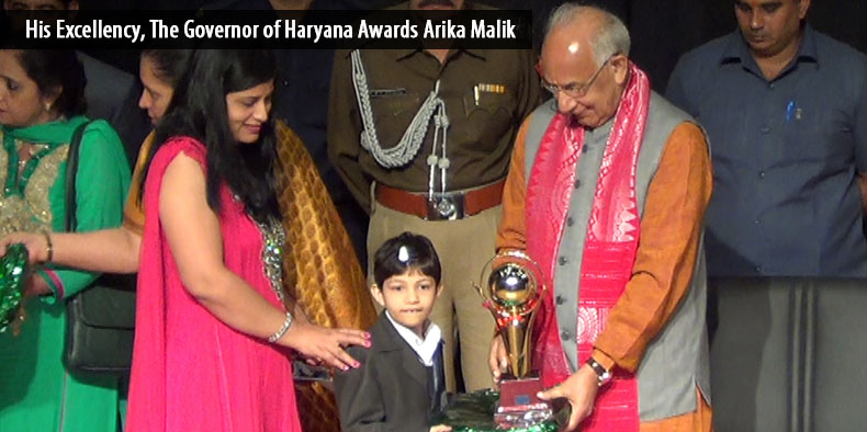 His Excellency, The Governor of Haryana Awards Arika Malik